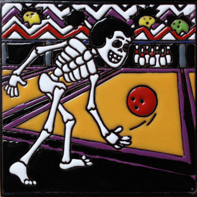 Bowling Time Day Of The Dead Clay Tile