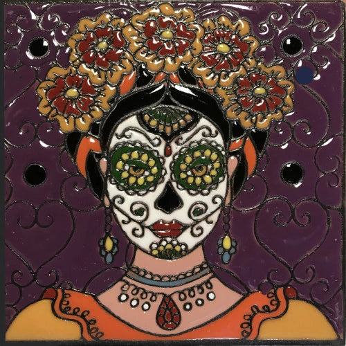 Flower Lady Time Day Of The Dead Clay Tile