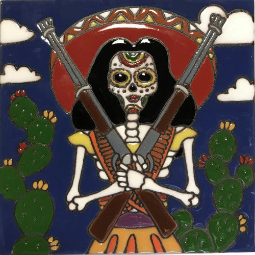 Rifle Lady Time Day Of The Dead Clay Tile