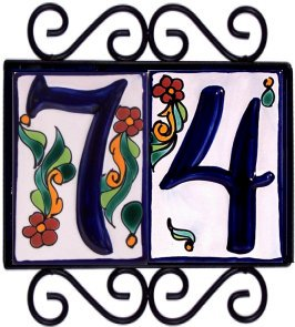 Horizontal Wrought Iron House Number Frame Colonial