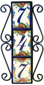 Vertical Scroll Wrought Iron Hacienda Tile Frame