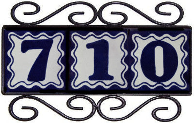 Scroll Wrought Iron Blue Tile Frame