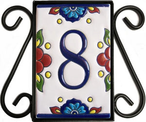 Vertical Scroll Wrought Iron Mission Tile Frame