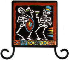 Load image into Gallery viewer, Wrought Iron Day Of The Dead Tile Frame Holder