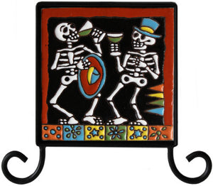 Wrought Iron Day Of The Dead Tile Frame Holder