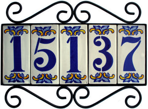 Horizontal Wrought Iron House Number Frame Villa