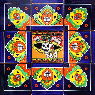 Alba Mexican Tile Set Backsplash Mural