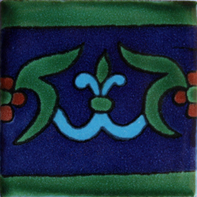 Blue Liz Flower Talavera Mexican Tile