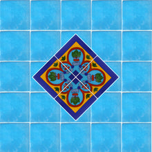 Load image into Gallery viewer, Corner Aqua Talavera Mexican Tile