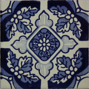 Blue Poinsettias Talavera Tile