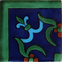 Load image into Gallery viewer, Corner Blue Liz Flower Talavera Mexican Tile
