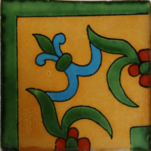 Corner Yellow Liz Flower Talavera Mexican Tile