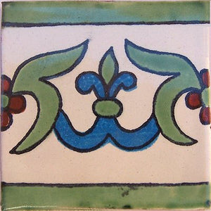 White Liz Flower Talavera Mexican Tile