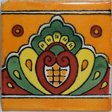 Load image into Gallery viewer, Orange Royal Crown Talavera Mexican Tile