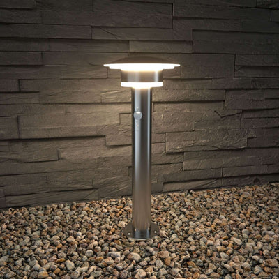 009PIR Post Light Silver 0.47m/0.87m GENEVA