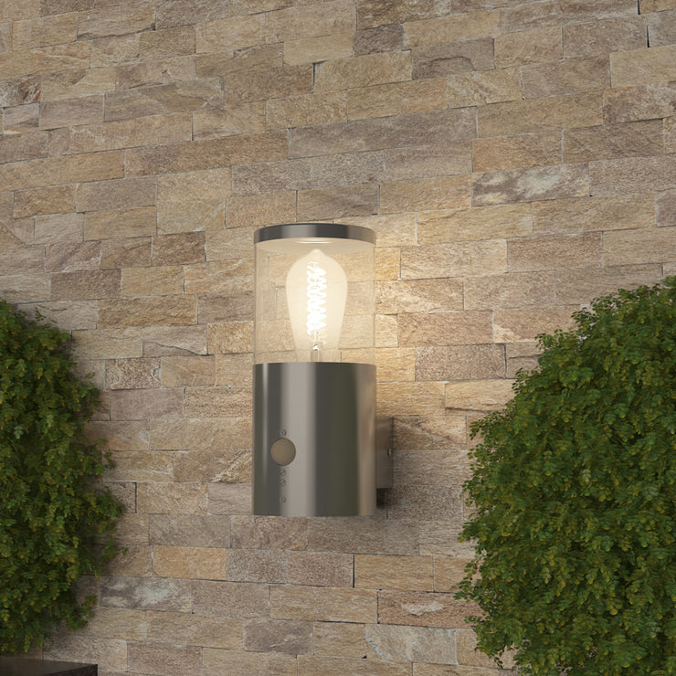 101PIR Silver/Black Outdoor Wall Light(Bulb not Included)