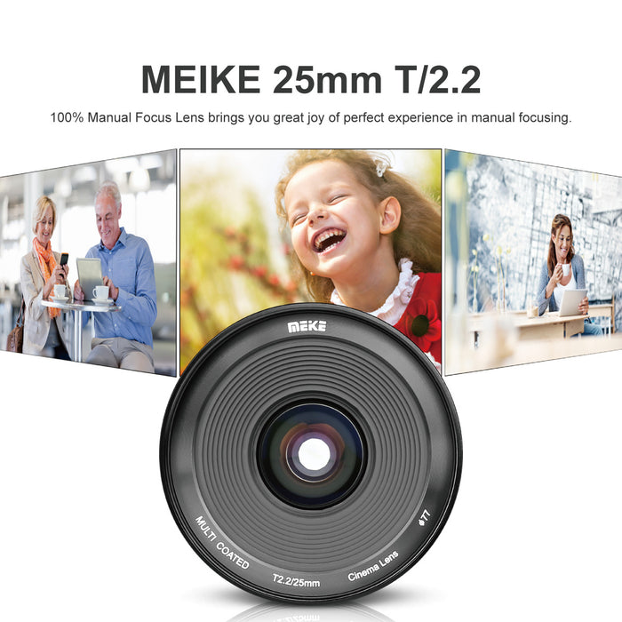 Meike 25mm T2.2 Cine Lens for Fujifilm X Mount Cameras-Fast Delivery