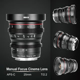 Meike MK-25mm T2.2 Cine Lens for Fujifilm X Mount Cameras-Fast Delivery