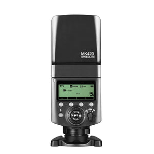 Meike MK420 Professional TTL Li-ion Batteies Flash Speedlite with LCD Display for Fujifilm X Mount Mirrorless Camera + Lithium Battery +Diffuser+Battery Charger