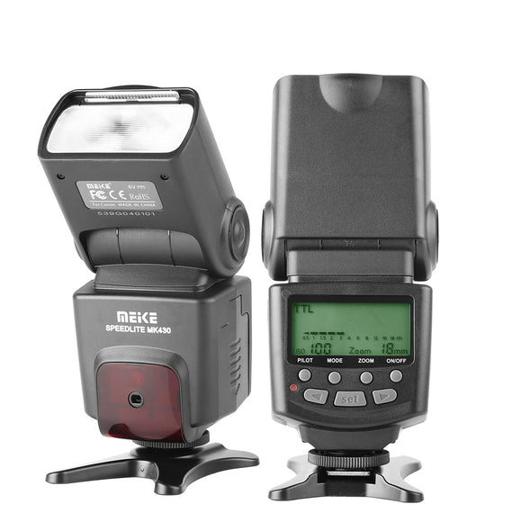 Meike MK430 E-TTL LCD Display Speedlite Shoe Mount Flash for Canon EOS 70D 77D 80D Rebel T7i T6i T6s T6 T5i T5 T4i T3i SL2 and Other Eos Digital DSLR Camera with Standard Hot Shoe Stand