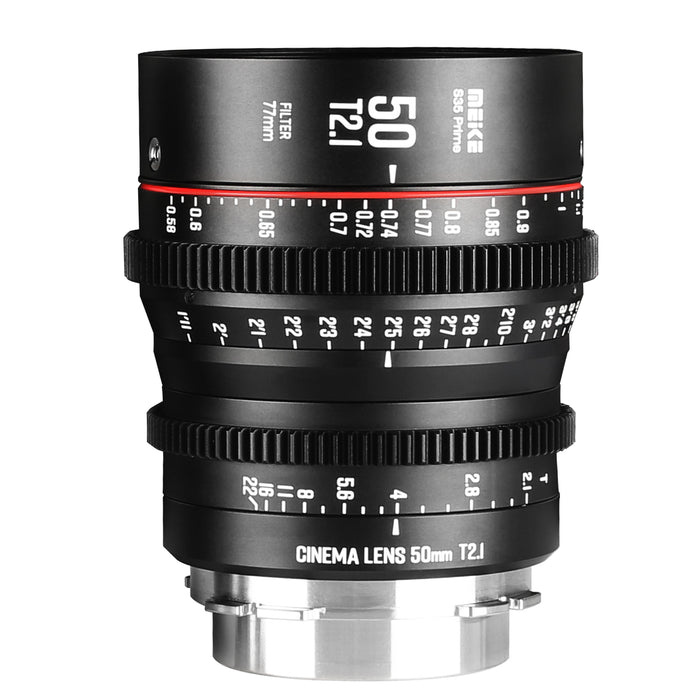 Meike Prime 50mm T2.1 for Super 35 Frame Cinema Camera Systems,such as RED Komodo,BMPCC6K,Z CAM S6,Canon C500 and Sony FS5II etc.