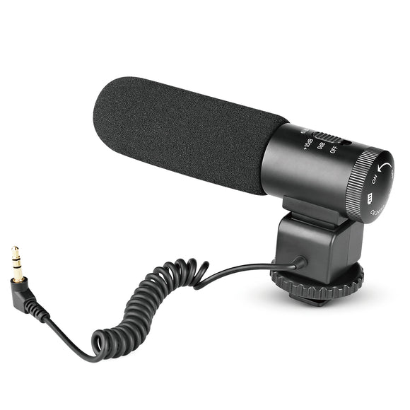 Meike MP1 Interview MIC Super-Cardioid Shotgun On-Camera Microphone for Canon Nikon Camera DV Camcorder with Fur Wind Shield (Need 3.5mm Interface)