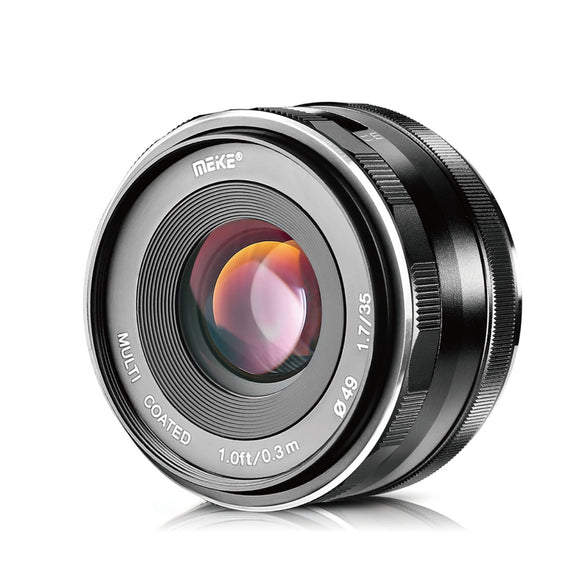 Meike 35mm F1.7 Large Aperture Manual Prime Fixed Lens APS-C for Nikon 1 Mount Mirrorless Cameras-Fast Delivery