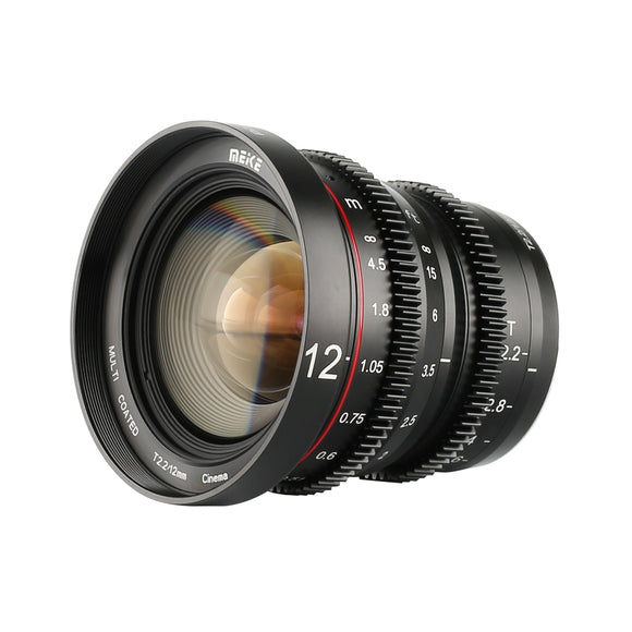 Meike New MK-12mm T2.2 MFT Cine  lens for Micro Four Thirds M43 MFT Olympus Panasonic Lumix BMPCC 4K Zcam E2-Fast Delivery