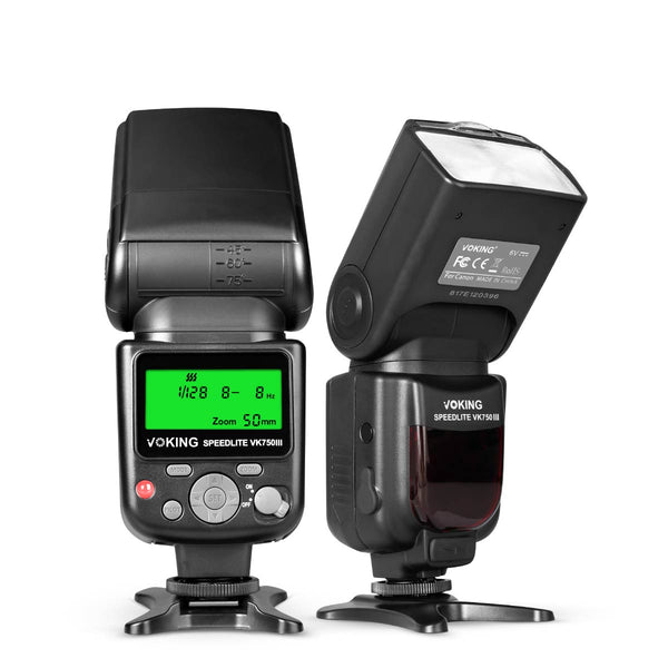 Voking VK750III Remote TTL Speedlite Slave Mode Flash with LCD Display for Canon DSLR Standard Hot Shoe Cameras EOS Rebel 5DS 5DSR 5S Mark IV 5D Mark III 6D 6D Mark II 7D 70D 77D 80D EOS R