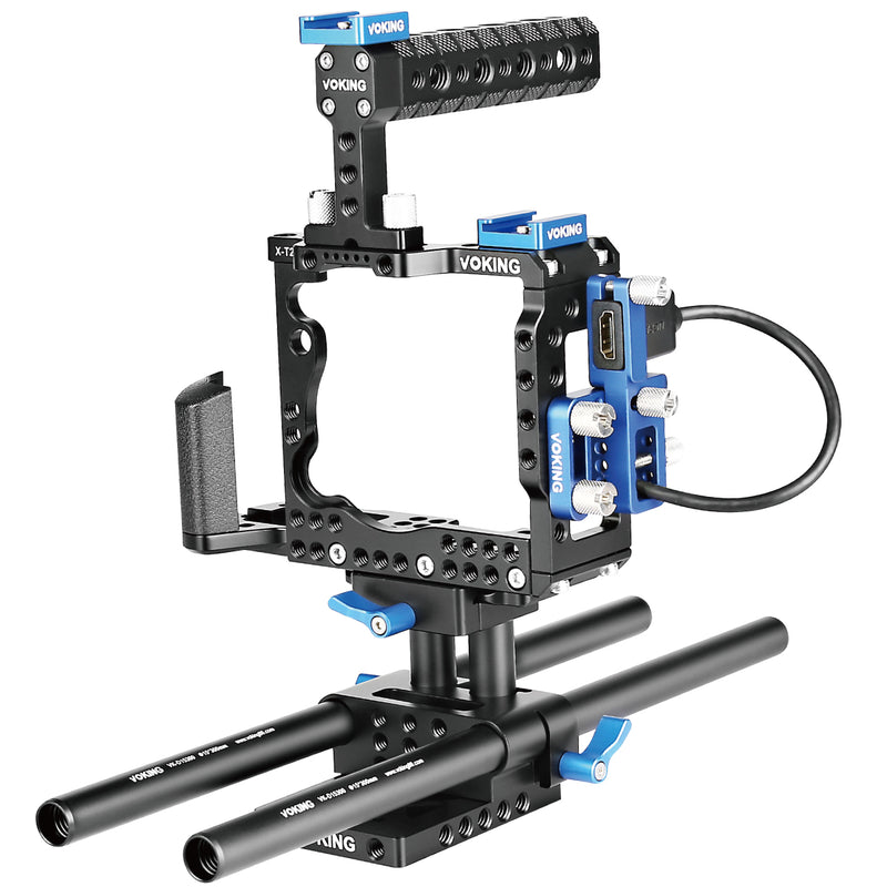 Voking VK-XT2B Film Movie Making Rig Camera Video Cage Kit Include:(1) Video Cage(1) Top Handle Grip(2) 15mm Rod fit Cameras Fujifilm X-T2 to Mount Microphone Monitor LED Flash, Follow Focus