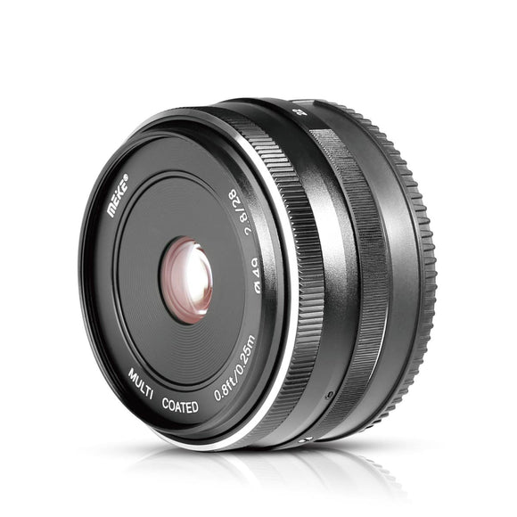 Meike MK-28mm f/2.8 Fixed Manual Focus Lens for Canon EF-M APS-C Mirrorless Cameras EOS-M3/EOS-M2/EOS-M10/EOS-M with Voking Lens Cleaning Cloth