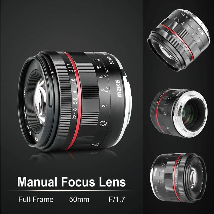 Meike 50mm F1.7 Full Frame Large Aperture Manual Focus Lens for Fujifilm X Mount Mirrorless Camera