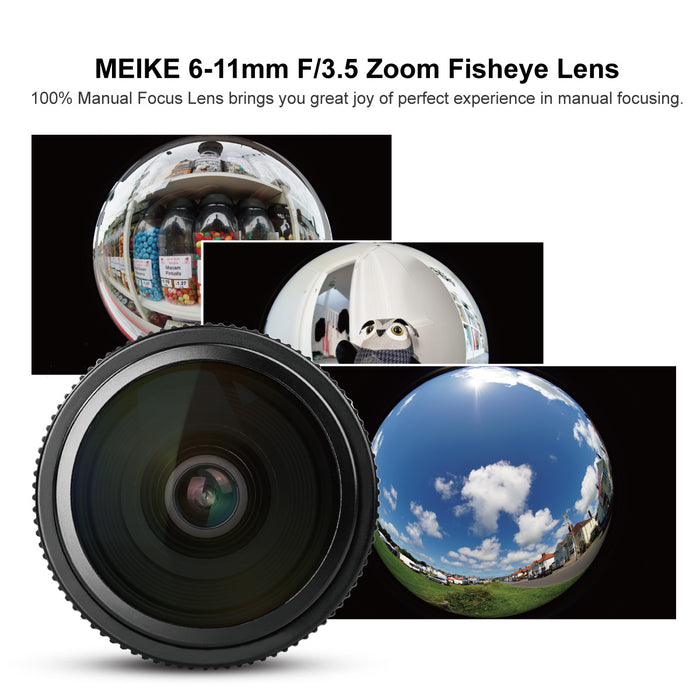 Meike 6-11mm F/3.5 Wide Angle APS-C Manual Focus Fisheye Zoom Lens for Fijifilm X-Mount Mirrorless Cameras-Fast Delivery