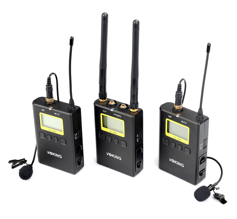 Voking VK WM220 Wireless Lavalier Microphone System with 2 Transmitters, Portable Receiver, 2 Lav Mics, and Shoe Mount for DSLR Cameras