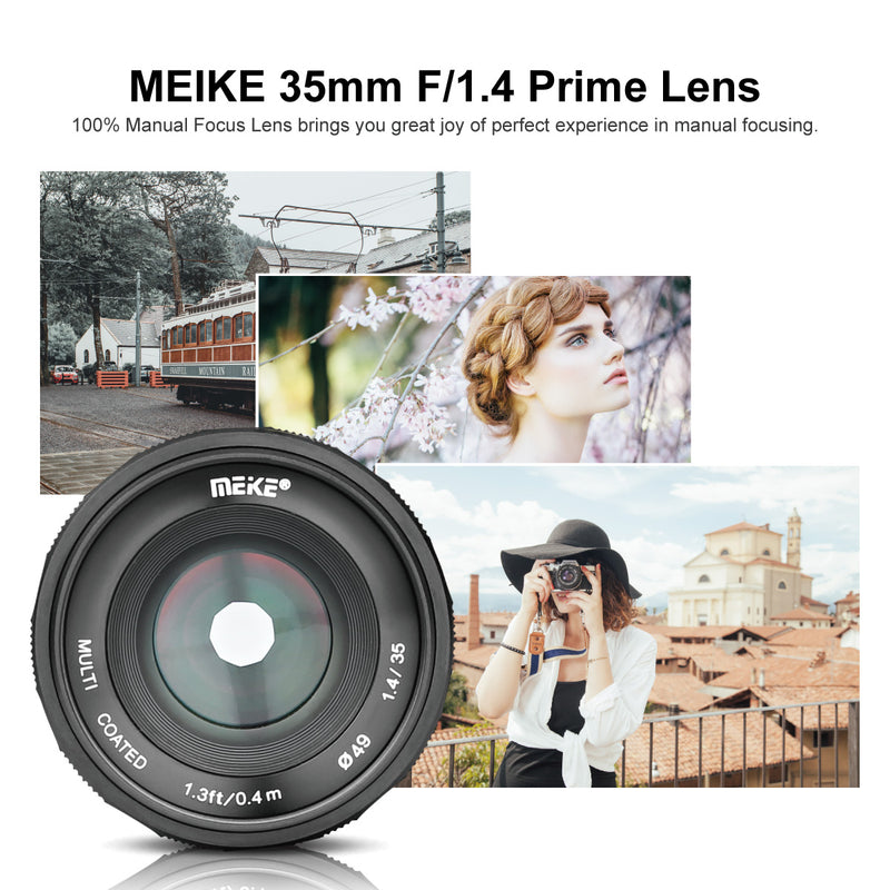 Meike 35mm F1.4 Large Aperture APS-C Prime Manual Focus Lens for Canon EF-M EOS-M Mount Mirrorless Cameras EOS M M2 M3 M5 M6 M10 M50 M100 etc-Fast Delivery