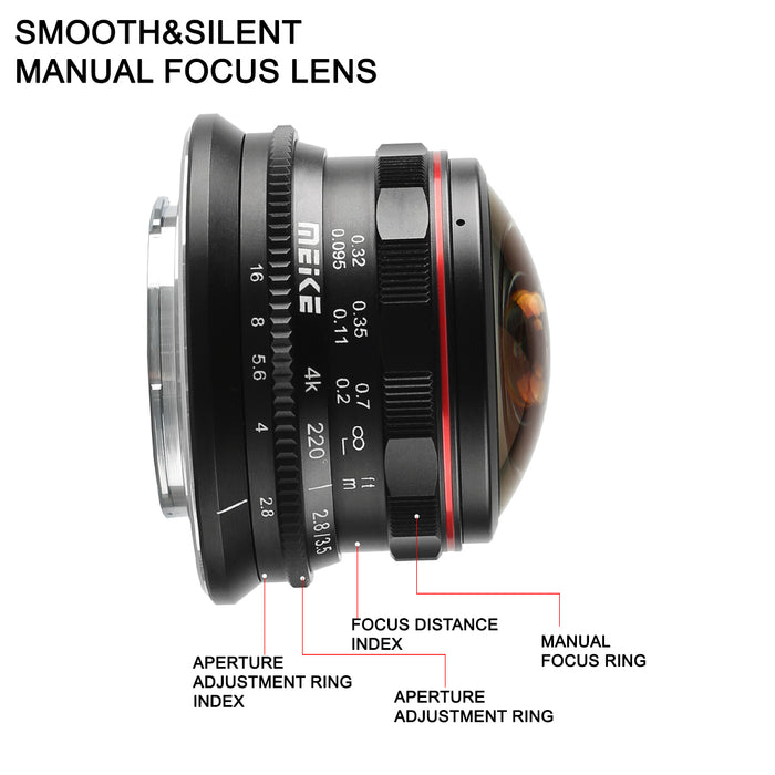 Presell:Meike 3.5mm f/2.8 Ultra Wide Angle Manual Fixed Lens for MFT-Fast Delivery