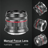 Meike MK-50mm F1.7 Full Frame Manual Focus Prime Lens for Canon RF Mount Cameras EOS-R EOS-RP