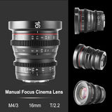 Meike MK-16mm T2.2 MFT Cine Lens for  Olympus/Panasonic Lumix Cameras and BMPCC 4K
