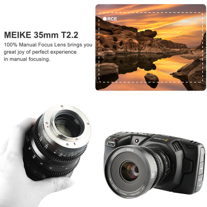 Meike 35mm T2.2 Cine lens for MFT Mount -Fast Delivery