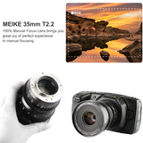Meike New MK-35mm T2.2 MFT Cine lens for Micro Four Thirds M43 MFT Olympus Panasonic Lumix BMPCC 4K Zcam E2-Fast Delivery