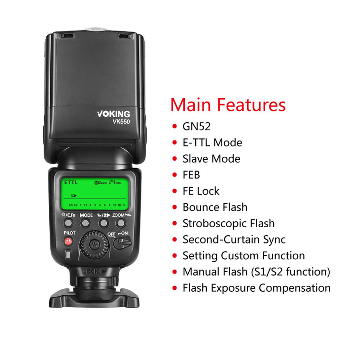 Voking VK550 ETTL Slave Mode Flash Manual LCD Display Speedlite for Canon EOS Rebel 5DS 5DSR 5S Mark IV 5D Mark III 6D 6D Mark II 7D 70D 77D 80D