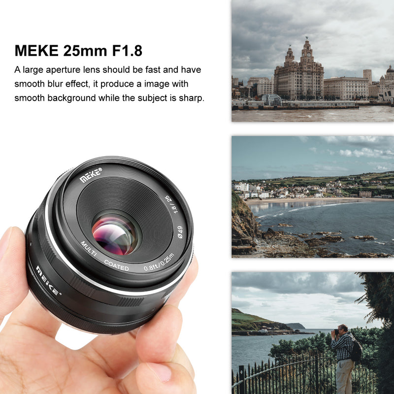 Meike 25mm F1.8 Wide Angle Lens Manual Focus Lens for Canon EOS-M Mount-Fast delivery