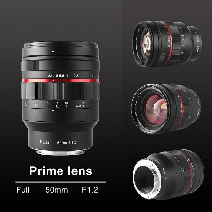 Meike 50mm F1.2 Large Aperture Manual Focus Lens for Sony E Mount-Fast Delivery