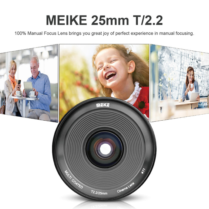 Meike Cine Lens 25mm T2.2 Sony E Mount Cameras-Fast Delivery
