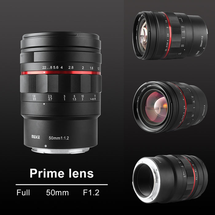 Meike 50mm F1.2 Large Aperture Manual Focus Lens for Sigma, Leica, Panasonic L Mount-Fast Delivery