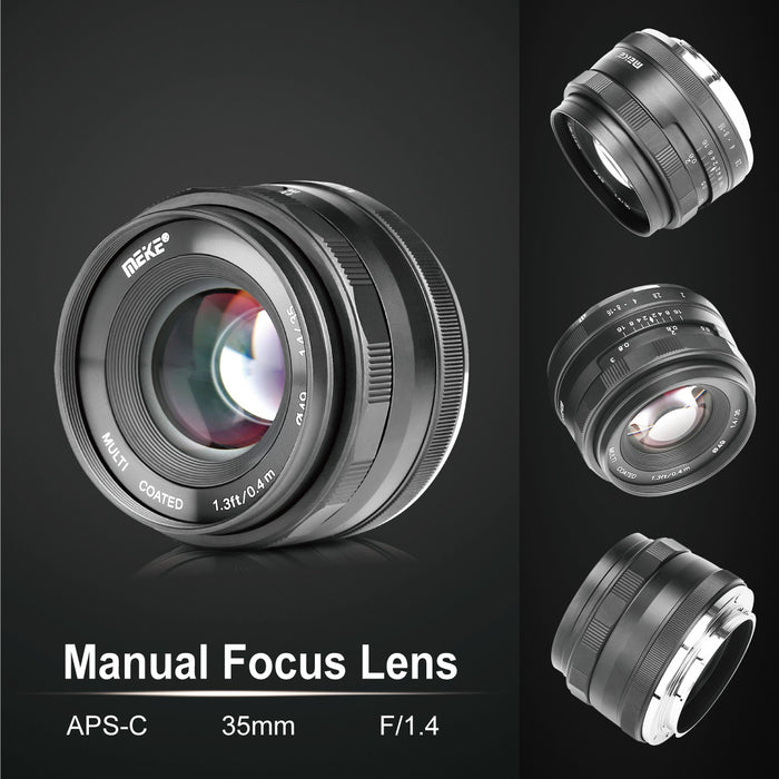 Meike 35mm F/1.4 APS-C Sony E-Mount Lens , Large Aperture Manual Focus-Fast Delivery