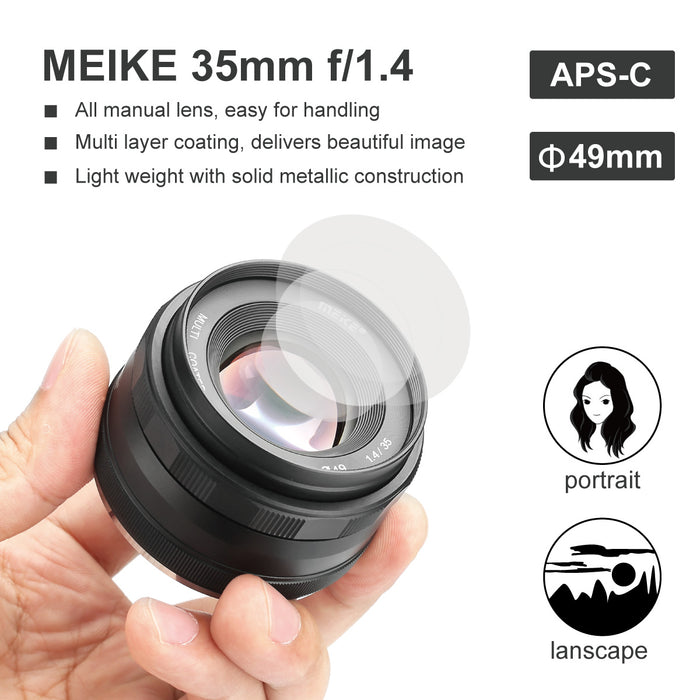 Meike MK-35mm F1.4 Large Aperture Wide Angle Lens Manual Focus Lens for Fuji X Mount Mirrorless Cameras -Fast Delivery