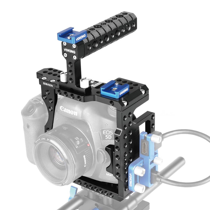 VOKING Aluminum Alloy VK-5D4K Camera Video Cage & Top Handle with Detachable and Top Handle Quick Release Plate for Canon 5D3 5D4