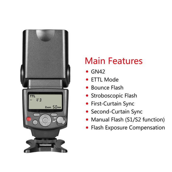Voking VK430 E-TTL LCD Display Speedlite Shoe Mount Flash for Canon Eos Digital DSLR Camera with Standard Hot Shoe Stand