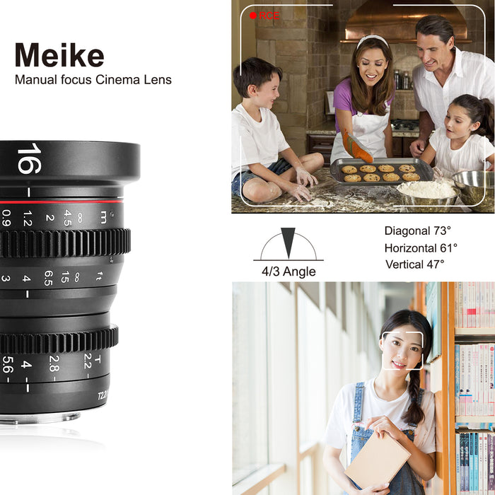 Meike Cine Lens 16mm T2.2 for MFT-Fast Delivery